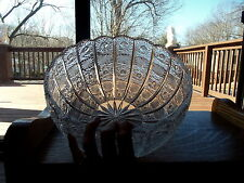 "LARGE 9.5"" SERVING CONSOLE BOWL Cut Lead Crystal Queen Lace Bohemia RARE glass"