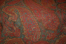 RUST RED TEAL BROWN PAISLEY  UPHOLSTERY FABRIC 10 YDS