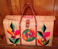 Vtg Mexican Woven Straw Floral Big Purse Beach Bag Tote Hippy Boho Festival
