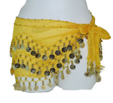 Brand New Yellow Belly Dance Scarf Hip Skirt Wrap Belt Gold Coins Cover up