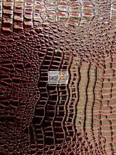 "VINYL PLEATHER EMBOSSED SHINY AMAZON CROCODILE FABRIC - Dark Red - 58""/60"" WIDE"