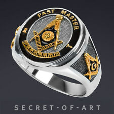 MASONIC RING PAST MASTER - STERLING SILVER 925, 24K-GOLD-PLATED, VERY FINE WORK