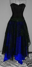 long Black Blue PIXIE asymmetric skirt 18 steampunk goth burlesque princess SML