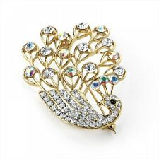 Clear and AB Crystal Swan Motif Gold Tone Brooch Pin Corsage Costume Jewellery