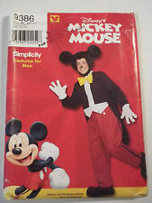Men's Mickey Mouse Costume Sewing Pattern Simplicity 9386 Size XS to XL
