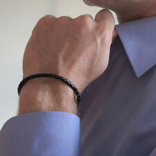 Black Leather Braided Bracelet. Adjustable Sterling Silver Wristband for Men