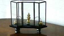 ANTIQUE CHINESE BRASS QUAN-YIN STATUE WITH BALANCE WEIGHTS IN GLASS CASE