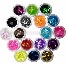 18 Colors Nail Art  Big Hexagon Glitter uv gel acrylic 3D Decor Dust Powder Set