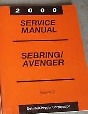 2000 DODGE AVENGER & CHRYSLER SEBRING Service Shop Repair Manual VOLUME 2 ONLY