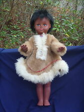 "Vintage Regal Canada 18"" Jointed Eskimo Doll in Fur Dress w Rooted Hair"