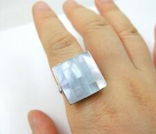Handmade Mosaic Mother of Pearl Ring, Size US6 to US10 adjustable : CA146