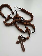Rosary beads wooden Cross necklace/ pendant chain. Brown metal cross