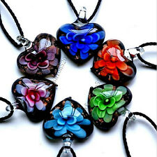 Wholesale 6Ps Black Heart Flower Murano Glass Lampwork Pendant Leather Necklace