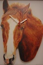 Chestnut Horse with White Blaze novelty wooden wall clock British by Lark Rise