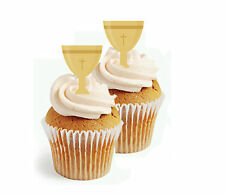 ✿ 24 Edible Rice Paper Cup Cake Toppings, Cake decs - Holy chalice easter conf ✿