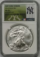 2014 MLB Series American Silver Eagle $1 MS 70 NGC New York Yankees Label