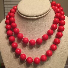 Retro Costume Large Red Bead Necklace 32""