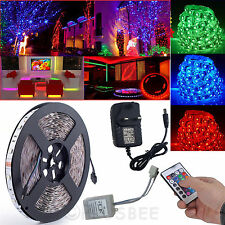 5M LED Strip Lights 3528 RGB LED Lights 24Key IR Remote Adapter Waterproof Kit