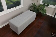 Large Tufted Storage Ottoman Lt Grey Silver Fabric Bench Foot Rest Coffee Table