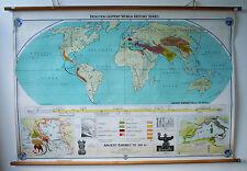 Énorme Vintage Affiche Murale Carte Histoire ancienne empires à 200bc 1950's 1960