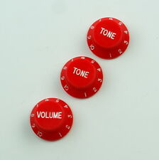 set of 3 Stratocaster style Tone & Volume Guitar Control knobs ,Bright Red