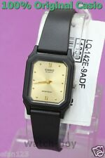 LQ-142E-9A Black Glod Casio Watch Plastic Water Resist Analog Brand-New