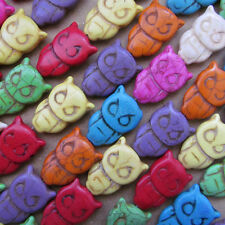 30pc 21*32mm Howlite Turquoise Double-sided OWL Spacer Beads Animals B012P