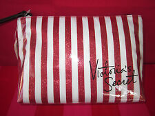 Victoria's Secret Red Glitter Striped Bling Make Up Case Purse Cosmetic Clutch