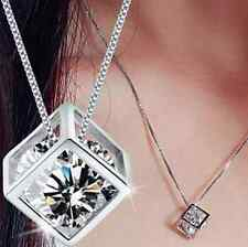 Fashion Silver Plated Chain Crystal Rhinestone Necklace Pendant Jewelry [clear]
