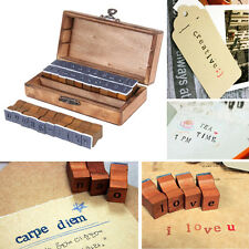 30 pcs Multi-purpose Alphabet Letter Number Wood Rubber Stamps Set Wooden Box