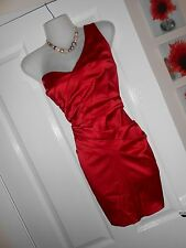 ** superbe ** jane norman taille 10 satin rouge un bras wiggle robe * rapide postage *