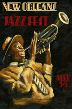 Jazz New Orleans Music Festival Trumpet 20x30 Vintage Poster Repro FREE S/H