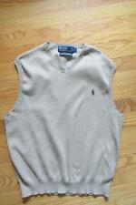 Mens Polo by Ralph Lauren Khaki Tan Cotton V Neck Golf Sweater Vest L wear as M