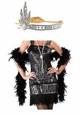 Flapper Womens Adult Sexy Black Dress Crystal Tiara Necklace Halloween Costume M