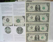 2009,4 US Bill $1 In One Uncut Sheet,Real $ + Old Cent US COIN: BIG SALE 2 ITEMS