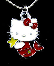 NEW HELLO KITTY MERMAID CHARM PENDANT SILVER CHAIN NECKLACE 2 COLOR