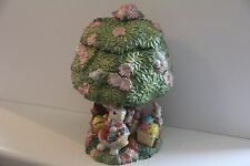 FITZ FLOYD COOKE BISCUIT JAR RABBIT BUNNY TREE HOUSE EASTER SPRING RETIRED RARE