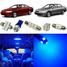 9x Blue LED lights interior package kit for 1998-2002 Honda Accord HA3B