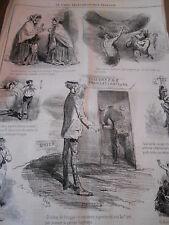 Caricature Litho 1868 Le Cable transatlantique Francais Brest Télégraphe