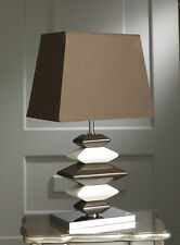 Modern Contemporary Chocolate and Cream Pebbles Table Lamp