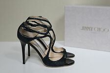 New 8.5 / 38.5 Jimmy Choo Lang Strappy Navy Ink Blue Glitter Ankle Sandals Shoes