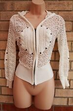 GUN MEI CREAM WHITE CROCHET ZIP FRONT HODDIE JUMPER TOP BLOUSE CARDIGAN S 8 10