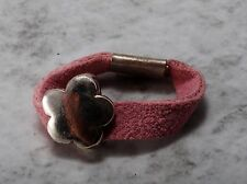 Vintage Ring Tiny CHild Small Finger Size 3 Stamped 925 Flower Pink Suede Jewelr