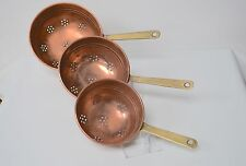 Vintage French Copper & Brass Handled Colander Strainers Sieves Colanders
