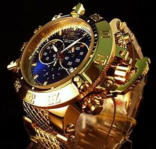 STUNNING INVICTA SUBAQUA NOMA III 18k GOLD ION PLATED BLUE CHRONOGRAPH MEN WATCH