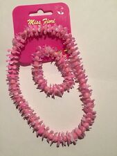 Miss Fiori.Necklace & Bracelet Set.Pink. Flowers & Beads.Pretty.Elastic.Gift.New