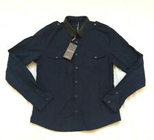 NWT auth GUCCI mod. DUKE military shirt with removable leather collar. SIZE M