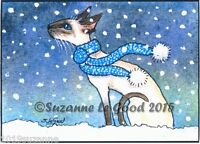 ACEO SIAMESE CAT IN SNOW PRINT FROM ORIGINAL PAINTING BY SUZANNE LE GOOD