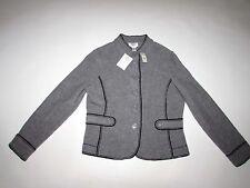 Talbots Women's Merino Wool Sweater Jacket Petite Medium NWT Gray Black Trim PM