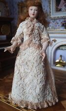 Miniature Dollhouse Artisan Porcelain Doll Victorian Lady Lace Dress